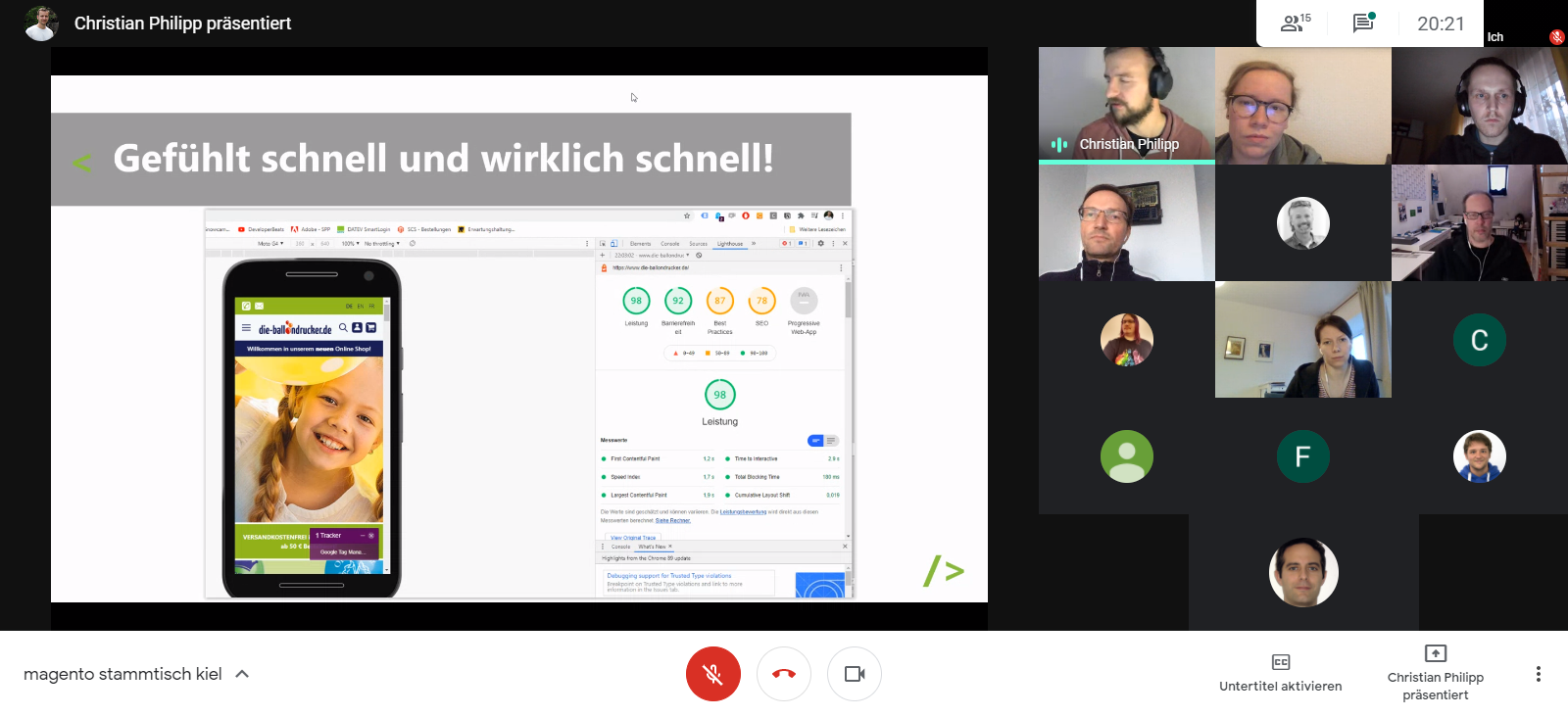 """Vortrag """"Hyvä mit Magento – Google Lighthouse liebt es!"""" von Christian Philipp beim 35. Magento Stammtisch Kiel"""