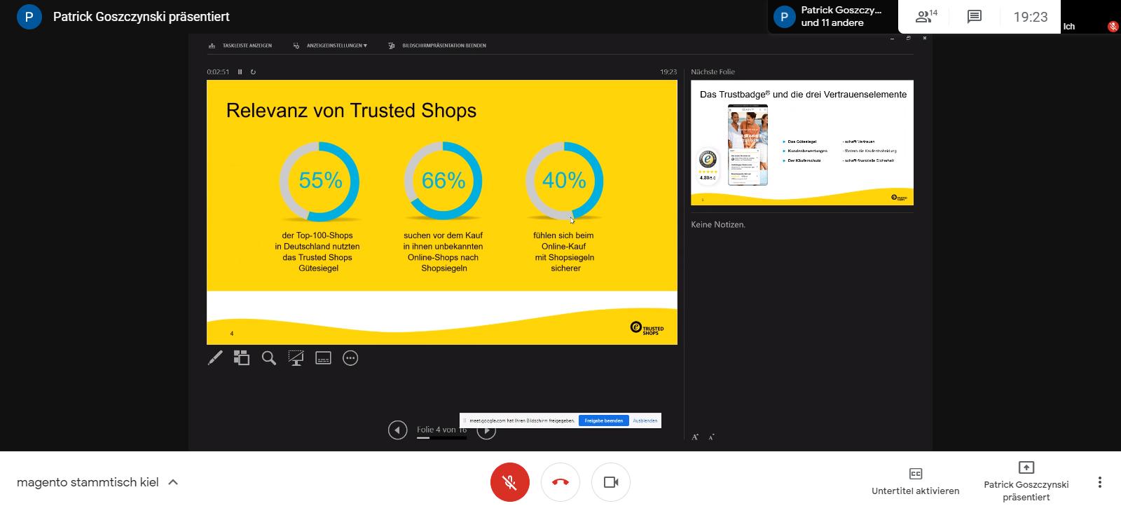 """Vortrag """"Trusted Shops – Die Vertrauensmarke im E‑Commerce"""" von Patrick Goszczynski beim 35. Magento Stammtisch Kiel"""